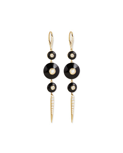 18k Pyramide Pointed Onyx Drop Earrings