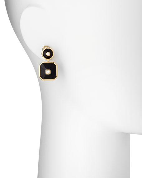 18k Pyramide Onyx Double-Drop Earrings