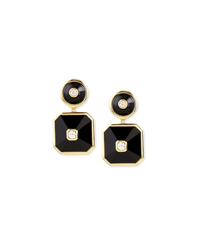 18k Pyramide Onyx Double-Drop Earrings