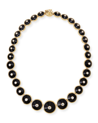 18k Pyramide Onyx & Diamond Necklace