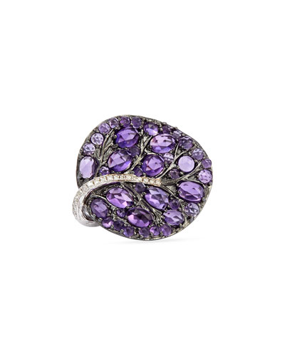 Botanical Leaf Amethyst Ring with Diamonds