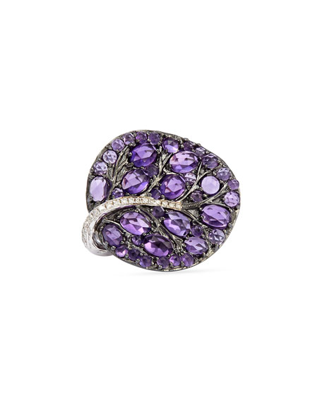 Michael Aram Botanical Leaf Amethyst Ring with Diamonds