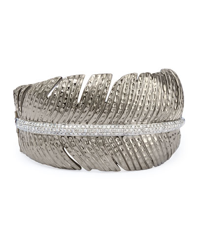 Rhodium-Plated Silver & Diamond Feather Cuff