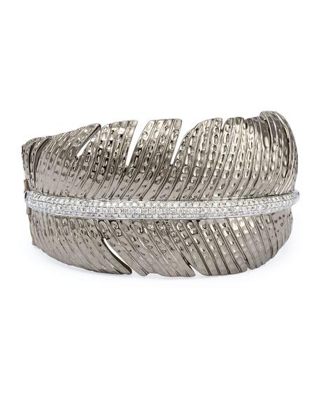 Rhodium-Plated Silver & Diamond Feather Cuff