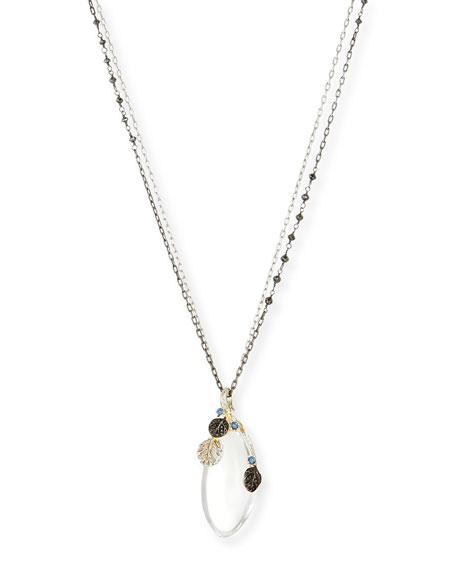 Botanical Leaf Rock Crystal Pendant Necklace
