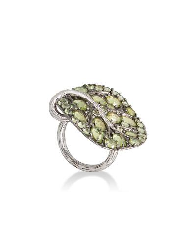 Botanical Leaf Peridot Ring with Diamonds