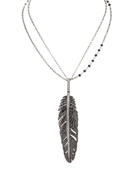 "Rhodium-Plated Silver Feather Pendant Necklace with Diamonds, 30""L"