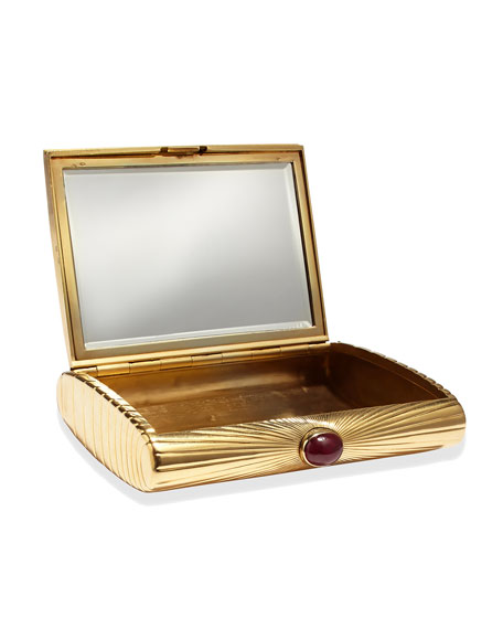 Estate Art Deco Cartier 18k Gold & Ruby Compact