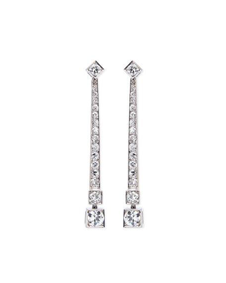 Estate Art Deco Tapered Diamond Drop Earrings