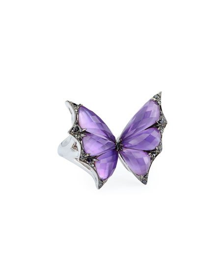 Fly By Night Amethyst Bat-Moth Ring