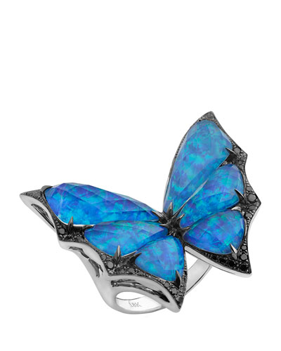 Opalescent Quartz Bat-Moth Ring