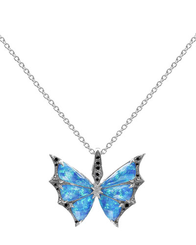 Fly By Night Opalescent Quartz Bat-Moth Pendant Necklace