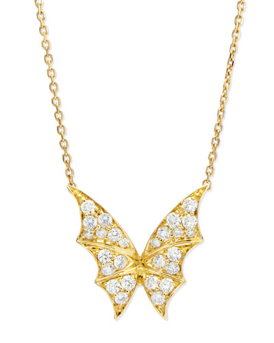 Fly By Night 18k Diamond Bat-Moth Pendant Necklace