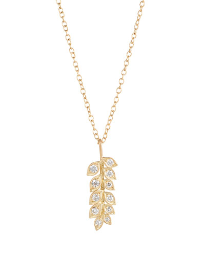 Small Vine Pendant Necklace with Diamonds
