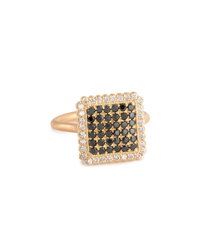 Large Square Black & White Diamond Ring