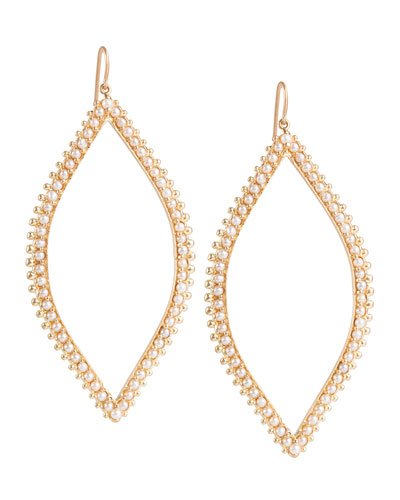 Open Marquis Leaf Earrings with Pearls