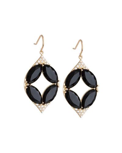 Marquise Oval Onyx & Diamond Point Earrings