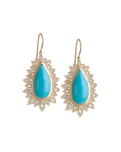 Diamond Edged Turquoise Drop Earrings