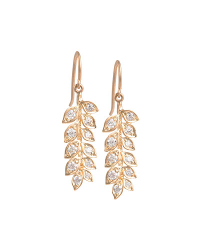 Small Vine Earrings with Diamonds