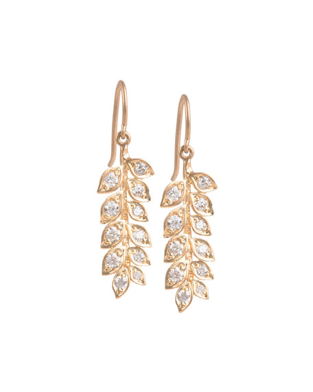 Small Vine Earrings with Diamonds