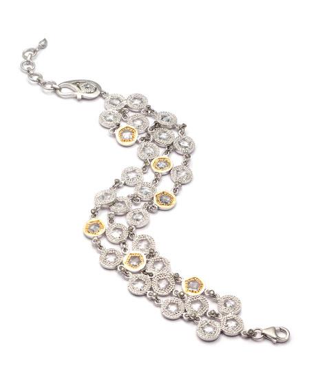 COOMI Opera Crystal & Diamond 3-Row Bracelet