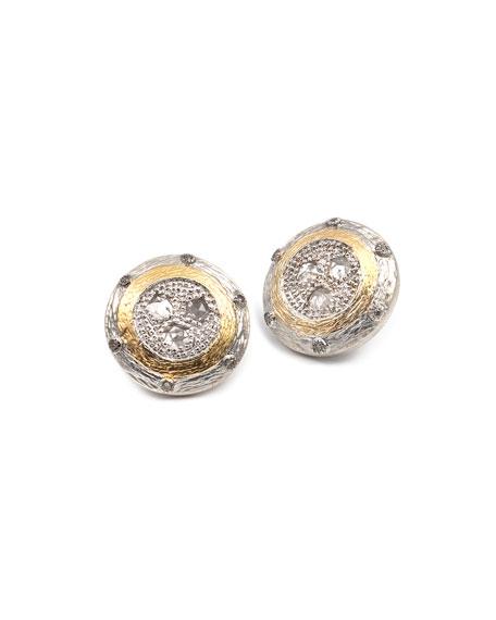 COOMI Opera Crystal & Diamond Round Stud Earrings