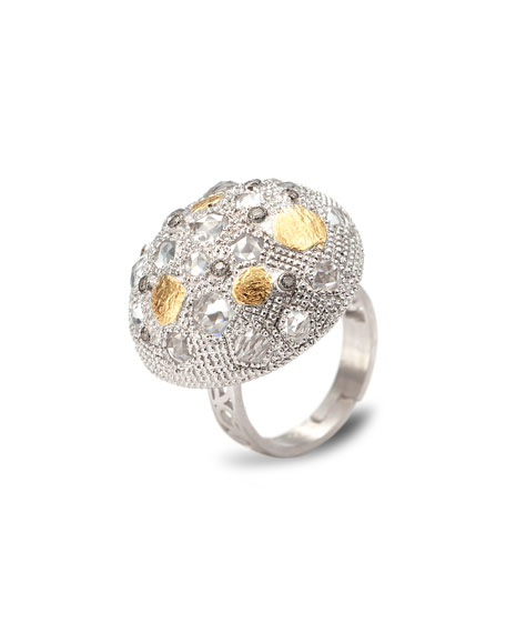 Opera Silver Crystal & Diamond Dome Ring, Size 6