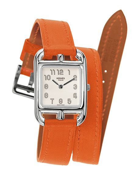 Cape Cod Watch on a Double Tour Orange Calf Strap