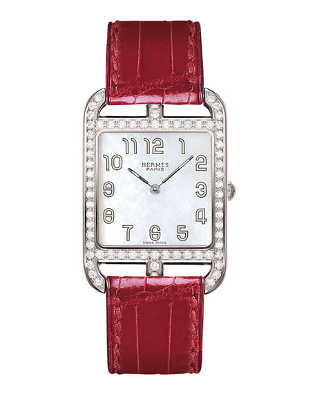 Cape Cod Set with Diamonds Watch on a Smooth Ember Alligator Strap ...