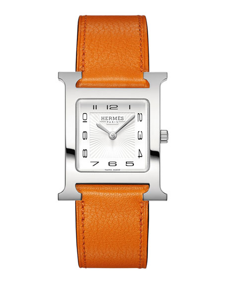 Heure H Watch on a Smooth Orange Calf Strap