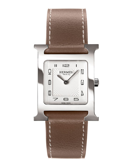 Heure H Watch on a Smooth Etoupe Calf Strap