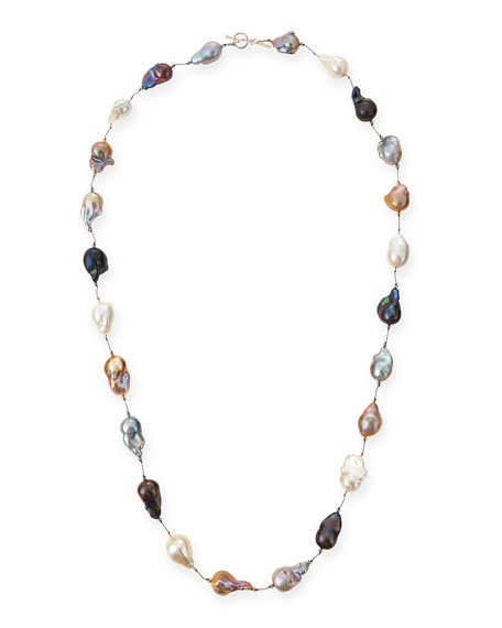 "Multicolor Baroque Pearl Long Necklace, 35""L"