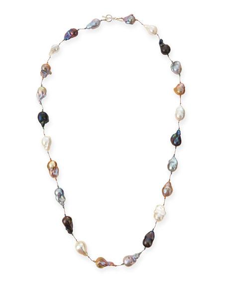 """Multicolor Baroque Pearl Long Necklace, 35""""L"""