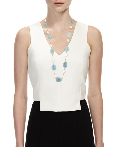 """Aquamarine & Coin Pearl Long Necklace, 35""""L"""