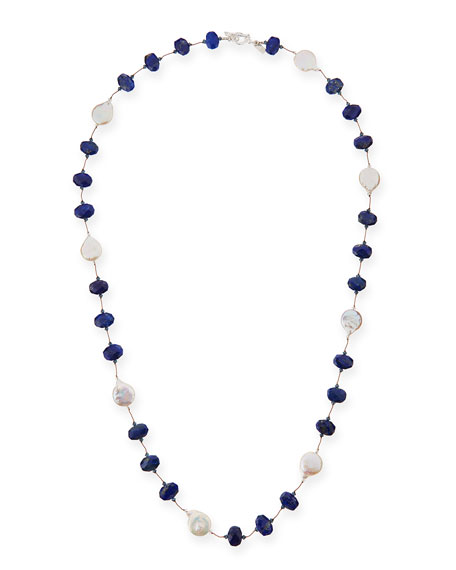 "Lapis & Coin Pearl Long Necklace, 35""L"