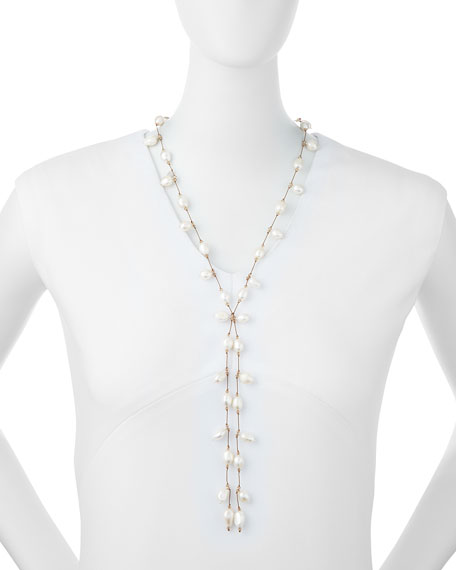 Dancing Freshwater Pearl Lariat Necklace