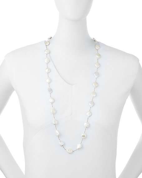 Single-Strand Coin Pearl & Crystal Necklace, 35""