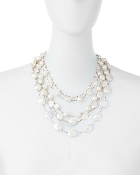 Five-Strand Pearl & Crystal Necklace
