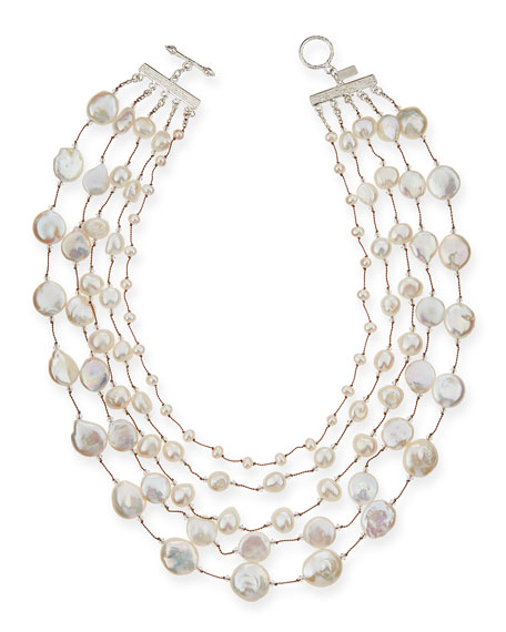 Margo Morrison Five-Strand Pearl & Crystal Necklace