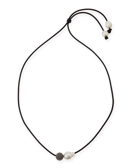 "Baroque Pearl & Crystal Bead Lariat Necklace, 34""L"