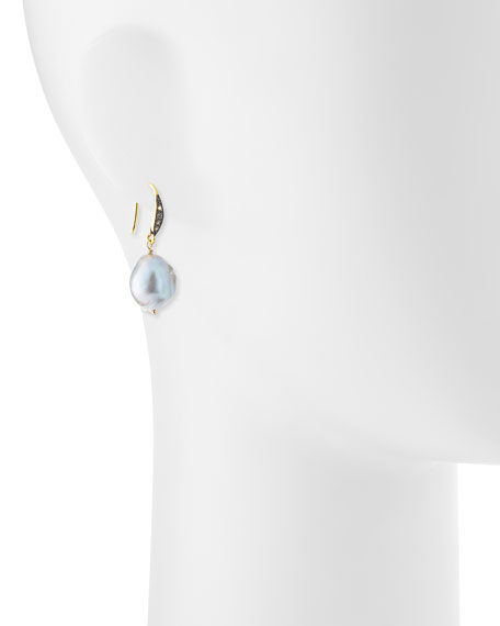 Gray Baroque Pearl & White Sapphire Drop Earrings