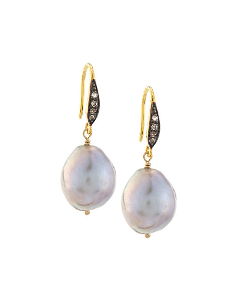 Gray Baroque Pearl & White Sapphire Drop Earrings