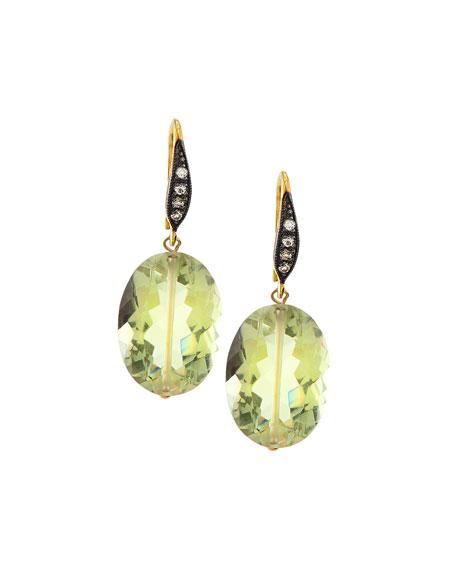 Green Amethyst & White Sapphire Drop Earrings