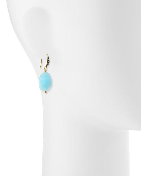 Aquamarine & White Sapphire Drop Earrings