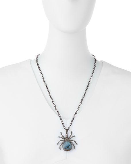 Diamond Labradorite Spider Pendant Necklace