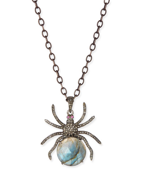 Siena jewelry diamond labradorite spider pendant necklace neiman diamond labradorite spider pendant necklace aloadofball Image collections
