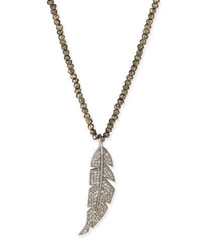 Diamond Feather & Pyrite Pendant Necklace