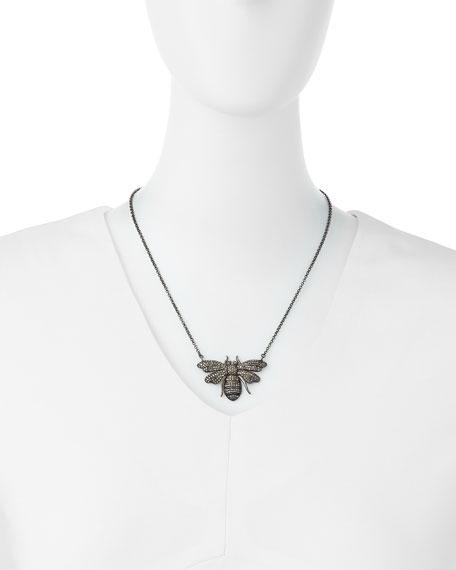 Silver Diamond Bee Pendant Necklace
