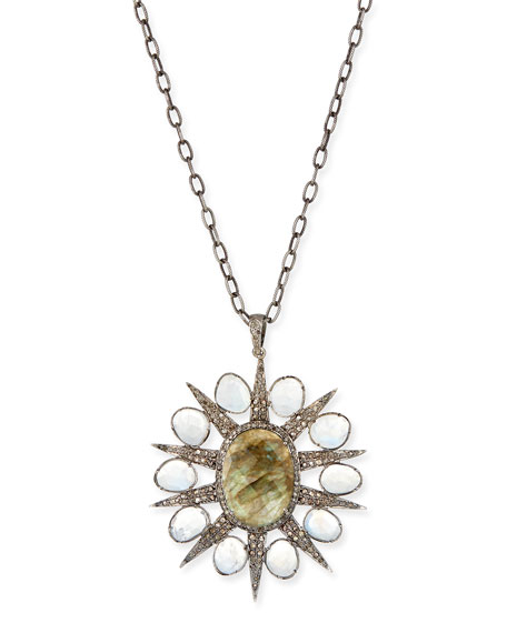 Siena Jewelry Labradorite & Diamond Starburst Necklace