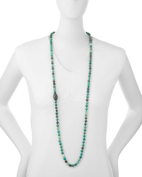 """Green Moss Opal Necklace with Diamonds & Emeralds, 45"""""""